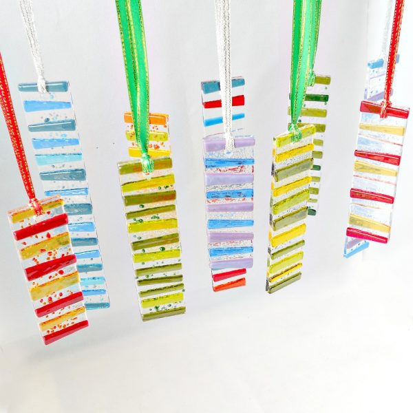 Stripy glass suncatchers
