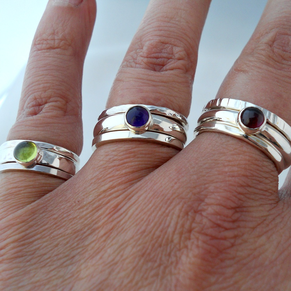 3 different stacking rings combinations
