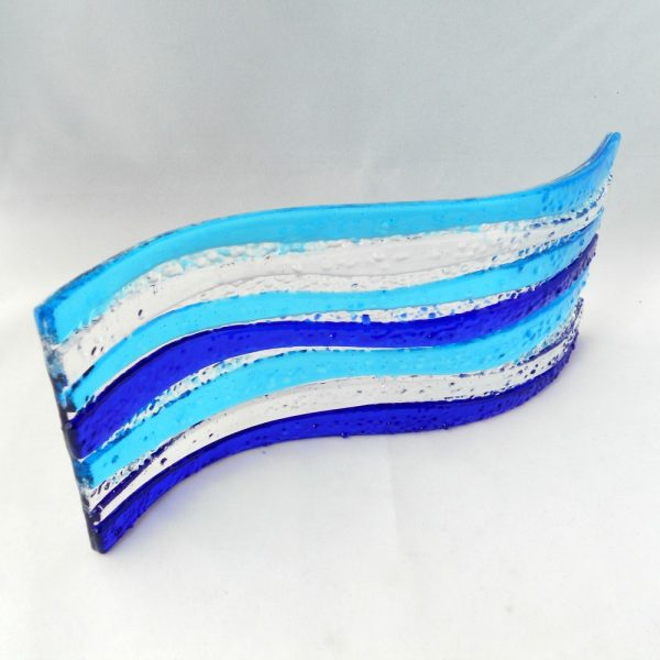Blue glass wave freestanding