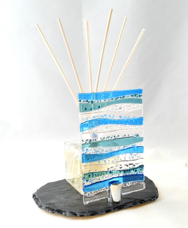 Blue fused glass stand for tea lights and diffusers