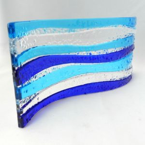 Blue fused glass wave