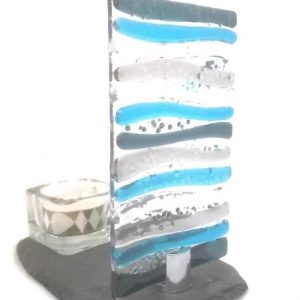 Blue glass candle stand