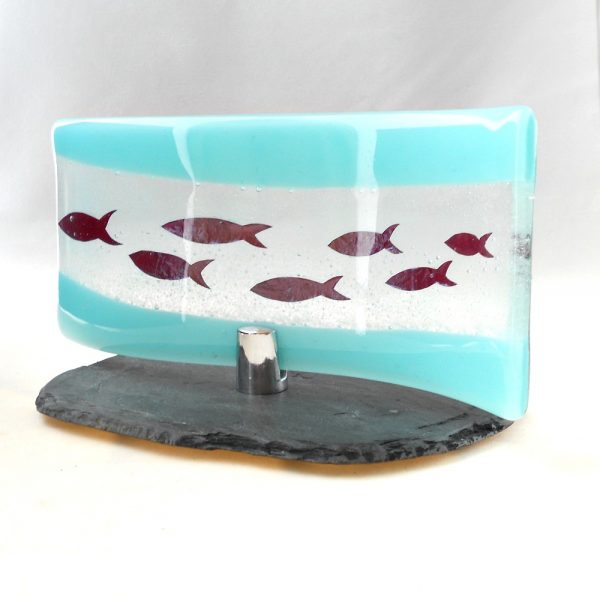 Turquoise glass wave with fish
