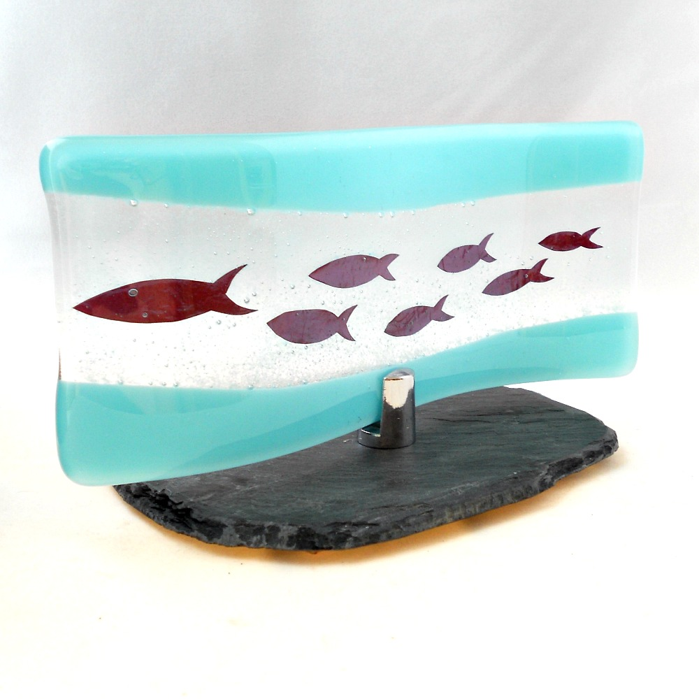 Freestanding Glass Wave With Fish