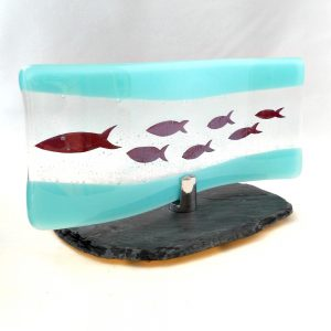 Fused glass wave with fish design