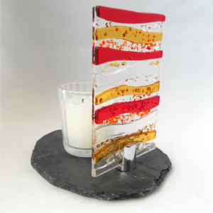 Fused glass candle stand on slate base
