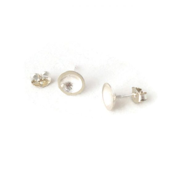 Silver earrings dome shaped