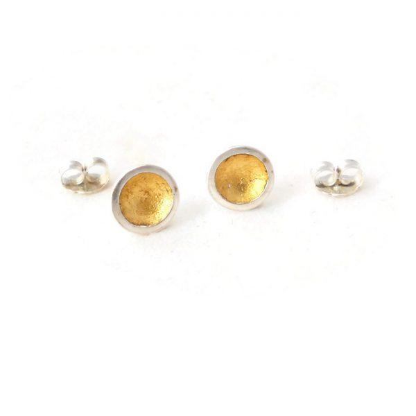 Gold leaf domed ear studs
