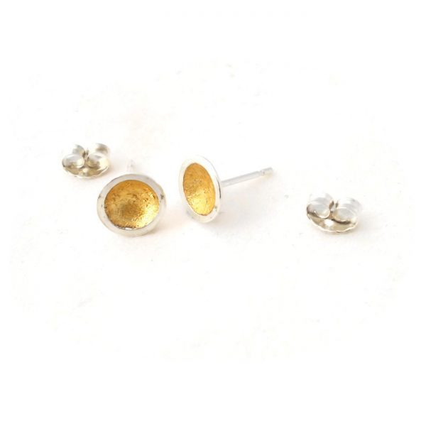 Silver and gold domed studs