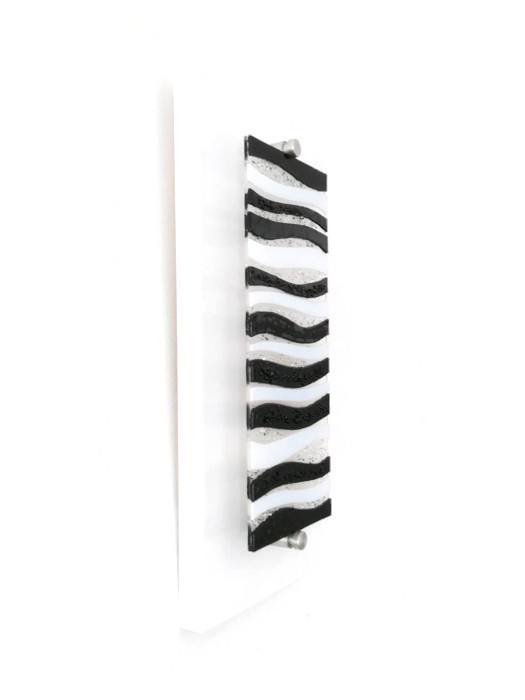 Glass wall art black and white : Fused glass wall art black and white wave design the
