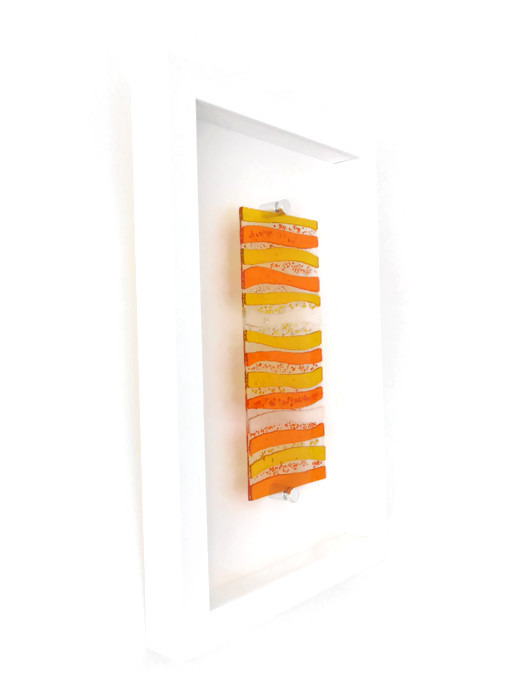 Orange fused glass picture