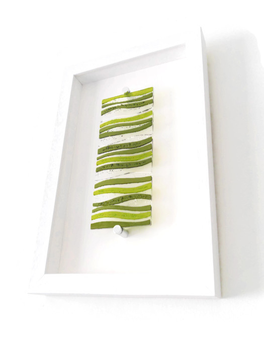 Green wave fused glass picture