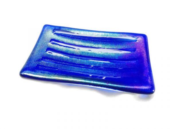 Blue glass dish