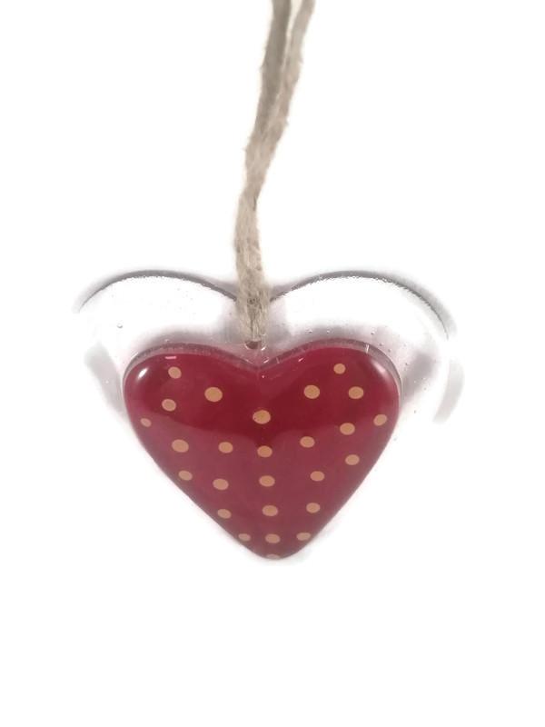 Fused glass heart on natural string hanger